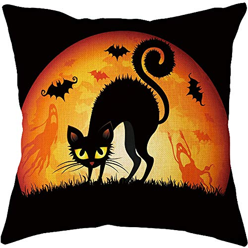Z-CGiftHome 4 Packs Happy Halloween Pumpkin Series Throw Pillow Cover - 18 X 18 Inch Halloween Decor Pillow Cases with Scary Skull Black Cat Bat and Witch Element (Happy Halloween, -