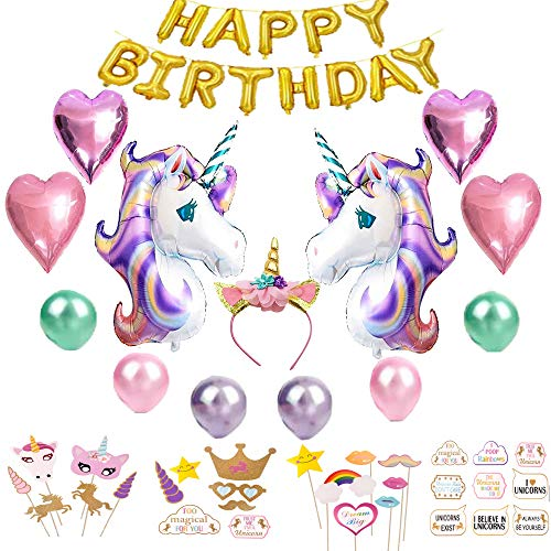Mils'Toys Value Pack Of Unicorn Birthday Party Supplies For Girls | Party Decorations Set w/ Large Unicorn Balloons, Happy Birthday Balloon, Unicorn Headband and 30 pcs Photo Booth Props -