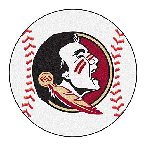 NCAA Florida State University Seminoles Baseball Shaped Mat Round Area Rug