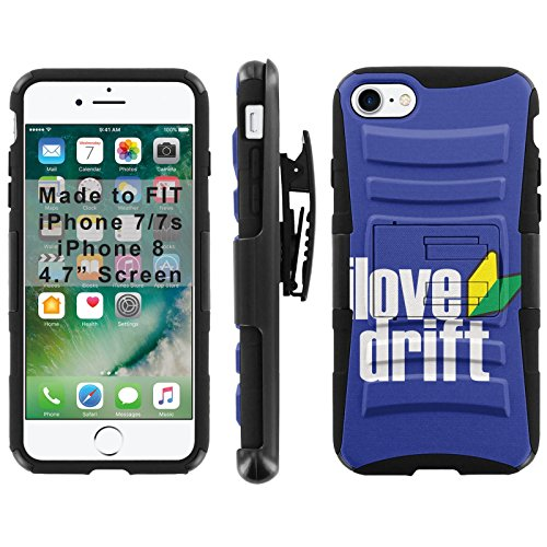 ([Mobiflare] Armor Phone Case for iPhone 8 / iPhone 7 [Black/Black] Blitz Armor Phone Cover with Holster - [I Love Drift])