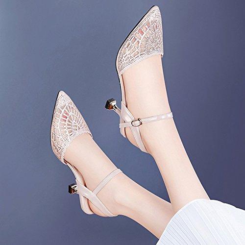 Jqdyl Tacones Nuevos Zapatos de Tacón Medio con Verano Sandalias de Moda de Tacón Alto Baotou Verano, 39, Champagne 39|champagne