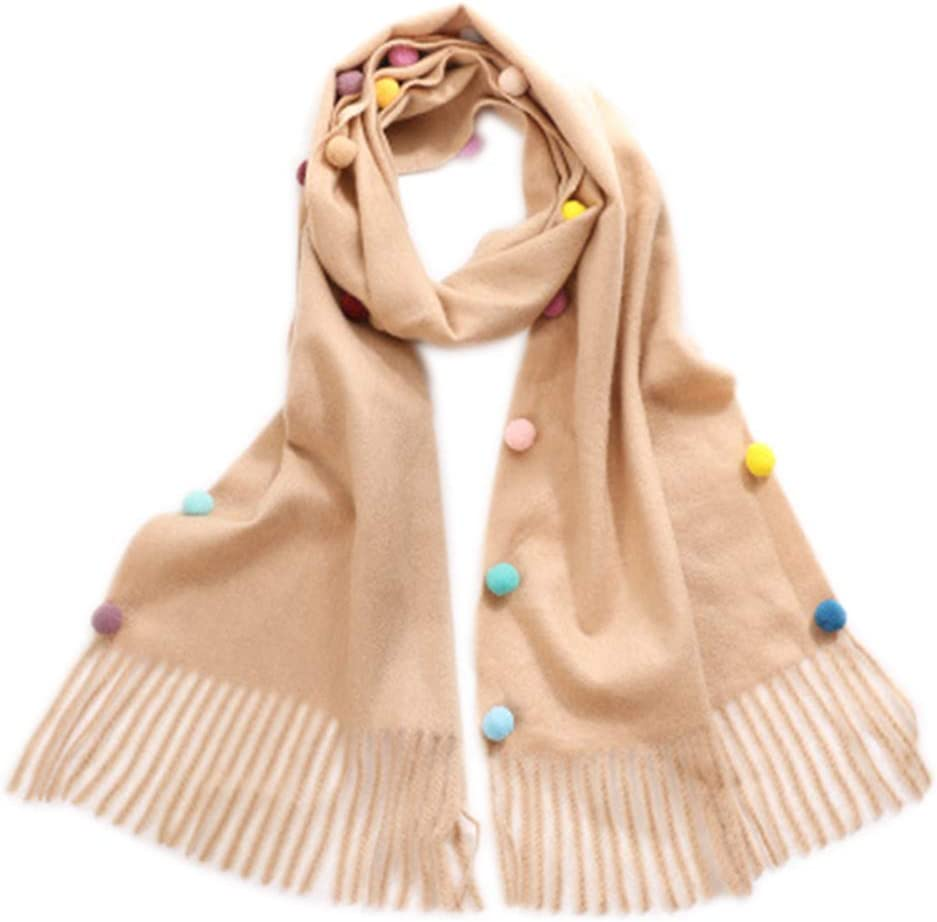 Fansi 1 PC New Childrens Cute Imitation Wool Scarf Girls Colorful Balls Tassels Scarf Winter Warm Long Scarf For Gift Blue