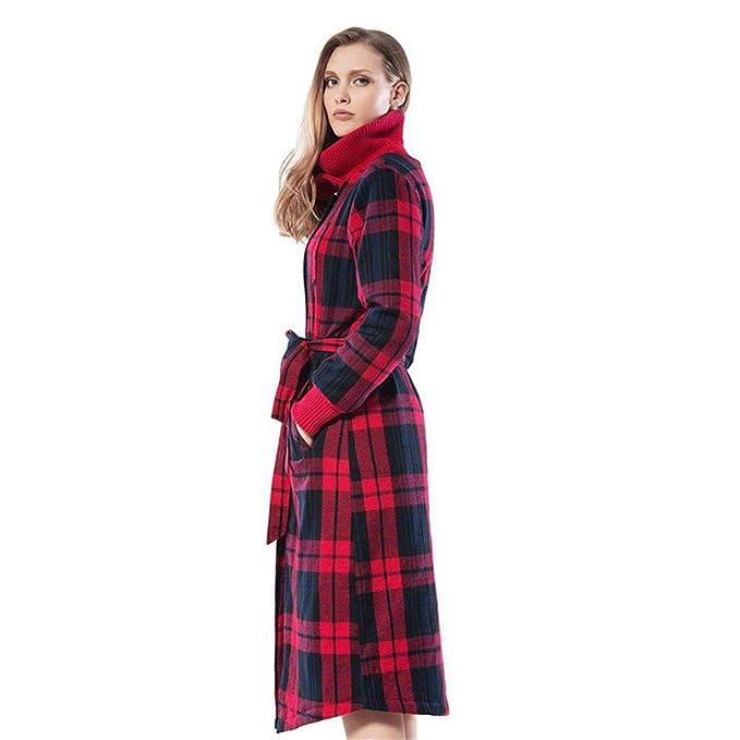 RGHOP camisón de Invierno para Mujer Pijamas Largos Parejas Espesar algodón Batas de baño de algodón cálido Albornoces de otoño, A, M: Amazon.es: Deportes y ...