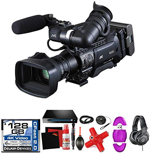JVC GY-HM850U ProHD Compact Shoulder Mount Camera with Fujinon 20x Lens -Mega Accessory Bundle - with Memory Card (Tripods For Digital Cameras Jvc)