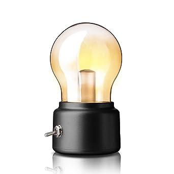 Retro Tischleuchte LightsGoal Vintage Lampe Aufladbar Batterie USB Birnen Romantische Nachtlicht Fr Schlafzimmer