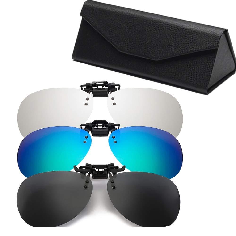 Unisex 3 Unidades BSET BUY Strong Light para Cristales Myopia sin fragmentos Filtro de Gafas Exteriores Clip para Gafas de Sol polarizadas con Clip Rectangular para Gafas de correcci/ón