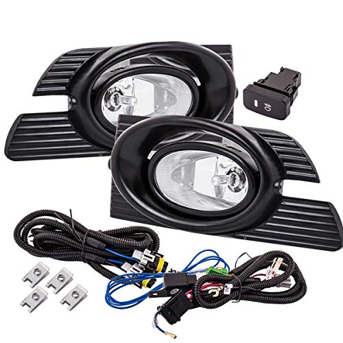 Fit 2001-2002 Honda Accord (Sedan Model Only) Front Bumper Fog Light Clear Includes H11 Bulbs Wiring Harness and Switch ()