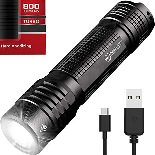 Night Provision TX8 EDC Tactical Flashlight USB Rechargeable Compact Torch CREE 800 Lumen LED (USB Rechargeable)