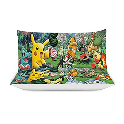 MEW Anime Poke-mon Full/Queen Bedding Duvet Cover Set,Poke-mon Pikachu (15),3 Pieces Bedding Set,with Zipper Closure and 2 Pillow Shams,Cute Boys Girls Comforter Sets,Luxury Bedroom Decorations: Kitchen & Dining