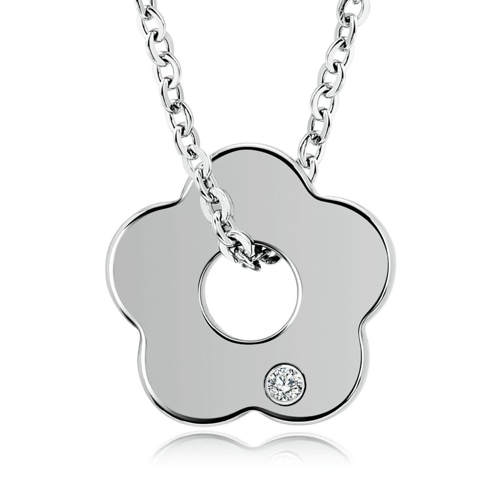 AMDXD Jewelry Stainless Steel Pendant Necklaces for Women Plum Silver 2.1X2.1CM