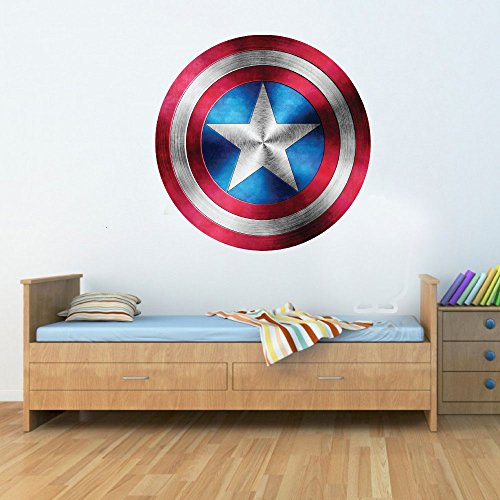 Captain America Shield Superhero Kids Boy Girls Marvel Avengers Bedroom Decal Wall Art Sticker Poster 58cm