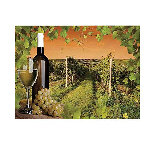 Winery Decor Photography Background,Bottle and Glass of Wine and The Vineyards of Sunset Countryside Romantic Evening View Backdrop for Studio,20x10ft ()
