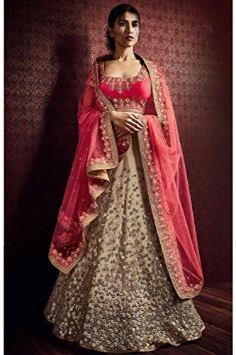 Mrsindia Womens Embroidery Beige Striking Lehenga Choli 80966 80966