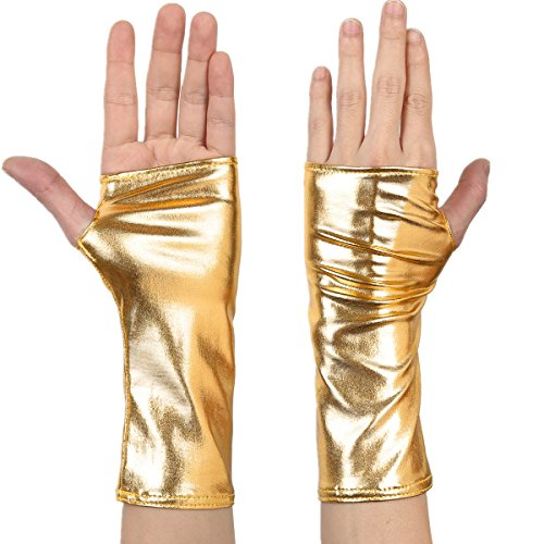 FEESHOW Women's PVC Leather Wet Look Long Gloves Gothic Fingerless Thumb Hole Arm Gloves Cosplay Fancy Dress Gold One Size