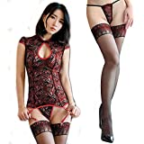 Women's Chinese Traditional Vintage Sexy Silk Stocking Socks Lace Hot Adult Exotic Lingerie Bodystocking Open Crotch Cup Crotchless Body Suit Sleepwear Underwear Dress for Sex
