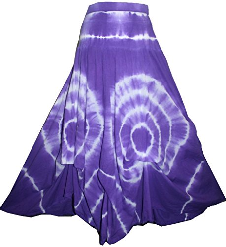 Agan Traders 1131 SK Ripple Tie Dye Long Skirt 2X/3X Purple Circular