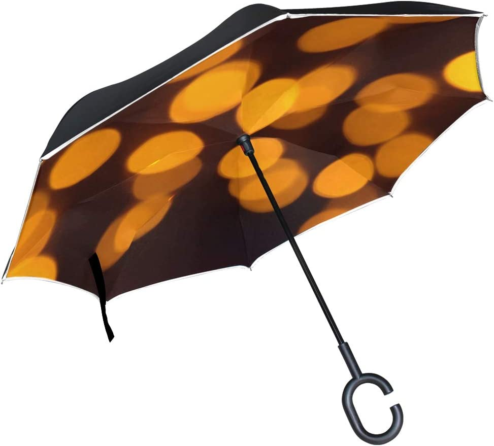 Double Layer Inverted Inverted Umbrella Is Light And Sturdy Pattern Swans Art Design Reverse Umbrella And Windproof Umbrella Edge Night Reflection