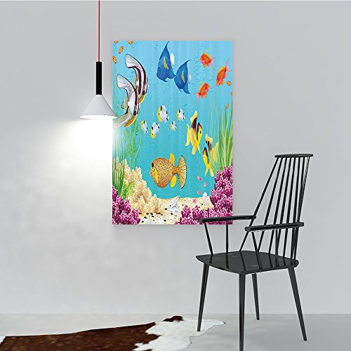 Philip C. Williams Color Wall Art Painting Frameless Underwater Landscape with Various Water Plants and Exotic Fishes Hotel Office Decor Gift Piece W44 x H64