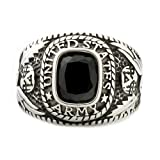 Hood: Mens 3.0ct Army Simulated Onyx USA Military Signet Ring 316 Stainless Steel, 3153