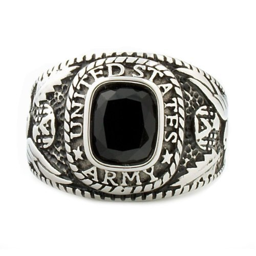 Hood-Mens-30ct-Army-Simulated-Onyx-USA-Military-Signet-Ring-316-Stainless-Steel-3153