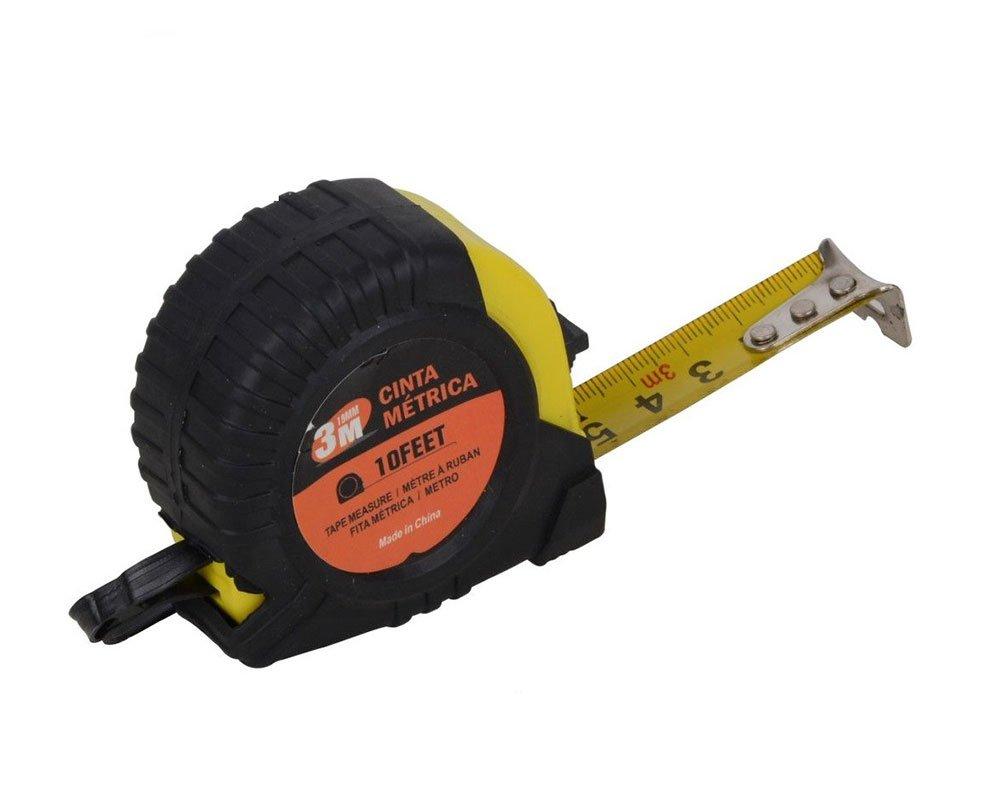 G12 Vetrineinrete/® Metro flessibile a nastro in acciaio flessometro da 3 5 7.5 10 metri retraibile avvolgibile sistema di bloccaggio con laccetto e gancio per cintura tasca 91821 7.5 Metri