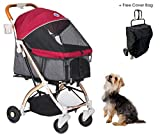 HPZ Pet Rover Lite Travel Stroller for Small & Medium Dogs - Cats & Pets (Ruby Red)