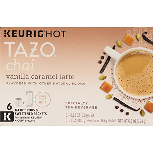 Tazo Vanilla Caramel Chai Latte, K-Cup for Keurig Brewers, 24 Count