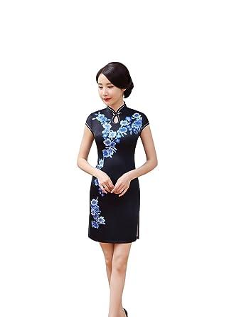 4ee1b25df5f ACVIP Women's Flower Print Short Chinese Cheongsam Qipao Slim Fit (UK6 /  Tag S,