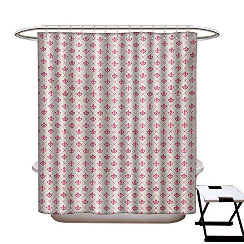 Fleur De Lis Shower Curtains Mildew Resistant Pink Colored Ancient Lily Flower Motifs with Checkered Pattern French Heraldry Bathroom Decor Sets with Hooks W69 x L84 Pink Cream - De Fleur Lis Syracuse