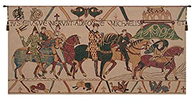 Home Furnishings, Bayeux Mont St. Michel, Belgian Tapestry Wall Hanging, Wall Art Decor, 44 by 22 Inch