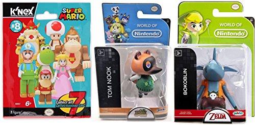 Super Mario Video Game K'Nex Buildable Figure Blind Bag Mystery Pack & World of Nintendo Tom Nook Animal Crossing & Bokoblin Zelda Figures set