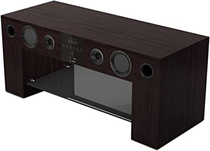 Nesx Ne780w Meuble Tv Hifi Amplifie Bluetooth Marron Amazon Fr Tv Video