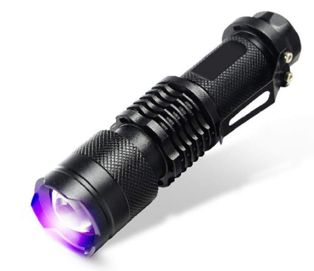 Mini UV LED Flashlight - Siomentdi Portable Zoomable Flashlight 365nm Purple Ultra Light Blacklight Lamp AA Battery Siomentdi E supply 001