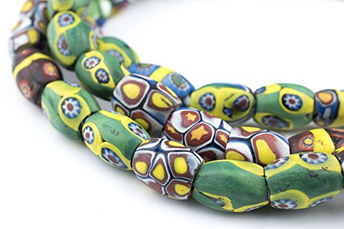 Millefiori Trade Beads (Hot Deal: Oval Antique Venetian African Millefiori Trade Beads - Full Strand of Glass Beads - The Bead Chest)