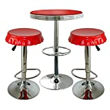 Buffalo BSSET27 AmeriHome Retro Red Soda Cap Bistro Set44; 3 Piece Set
