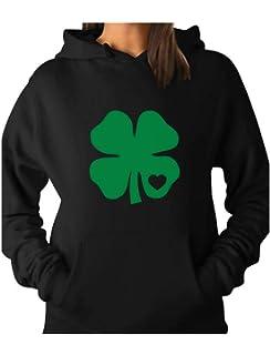 30a919a3 TeeStars - Irish Shamrock Green Clover Heart St. Patrick's Day Women Hoodie