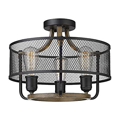Osimir 3-Light Semi-Flush Mount Ceiling Light, Industrial Ceiling Fixture in Matte Black & Wooden Finish, Round Ceiling Light Fixture for Bedroom, Living Room, Dining Room RE9166-3