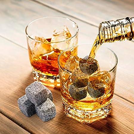 EXTSUD Juego de piedra y vasos whisky, 8 piedras de whisky de granito, 2 vasos de whisky, con bolsa de terciopelo, pinzas, caja, regalos de cumpleaños y Navidad / regalo para hombres/padres