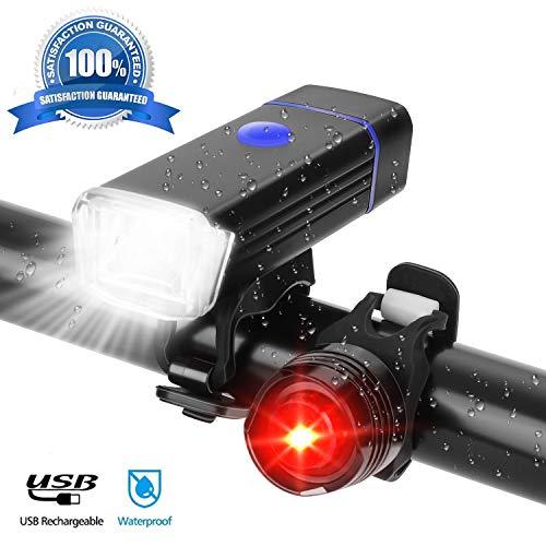 TopCrazy LED Fahrradlicht Set, LED Fahrradbeleuchtung Set mit Batterien inkl.Frontlicht und Rücklicht, wasserdichte Fahrradlampe Set Schwarz