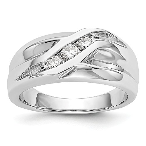 JewelrySuperMart Collection 1/3 CT 14k White Gold AA Diamond Men's Band. 0.336 ctw.