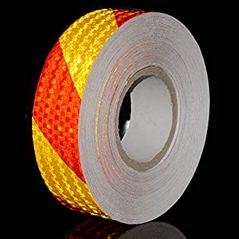 """Reflective Hazard Caution Stripe Tape Yellow And Red Stickers Accessories 2"""" X 150 Feet"""