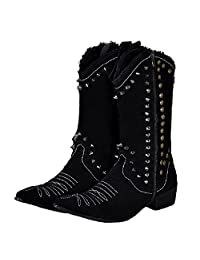 Size 5-12 Black Studded Suede Leather Mens Casual Dress Zip Cowboy Boots Shoes