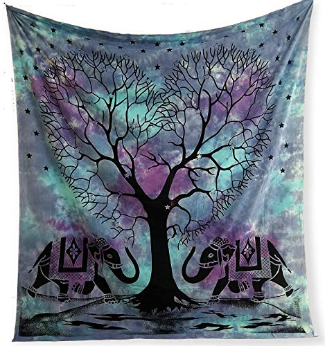 Plush Decor Large Blue Tapestry Tie dye Purple Tapestries Hippie Indian Elephant Tree Wall Hanging Hippy Beach Blanket Bohemian Coverlet Boho Queen Bedspread (Elephant Beach)