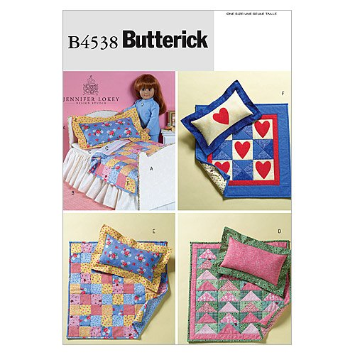 """Butterick Pattern 18"""" Doll Bed and Mini Quilts, 1 Size Only"""