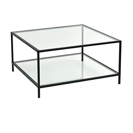 Lemonde Glass Table Stylish Glass Top Square Coffee Table With