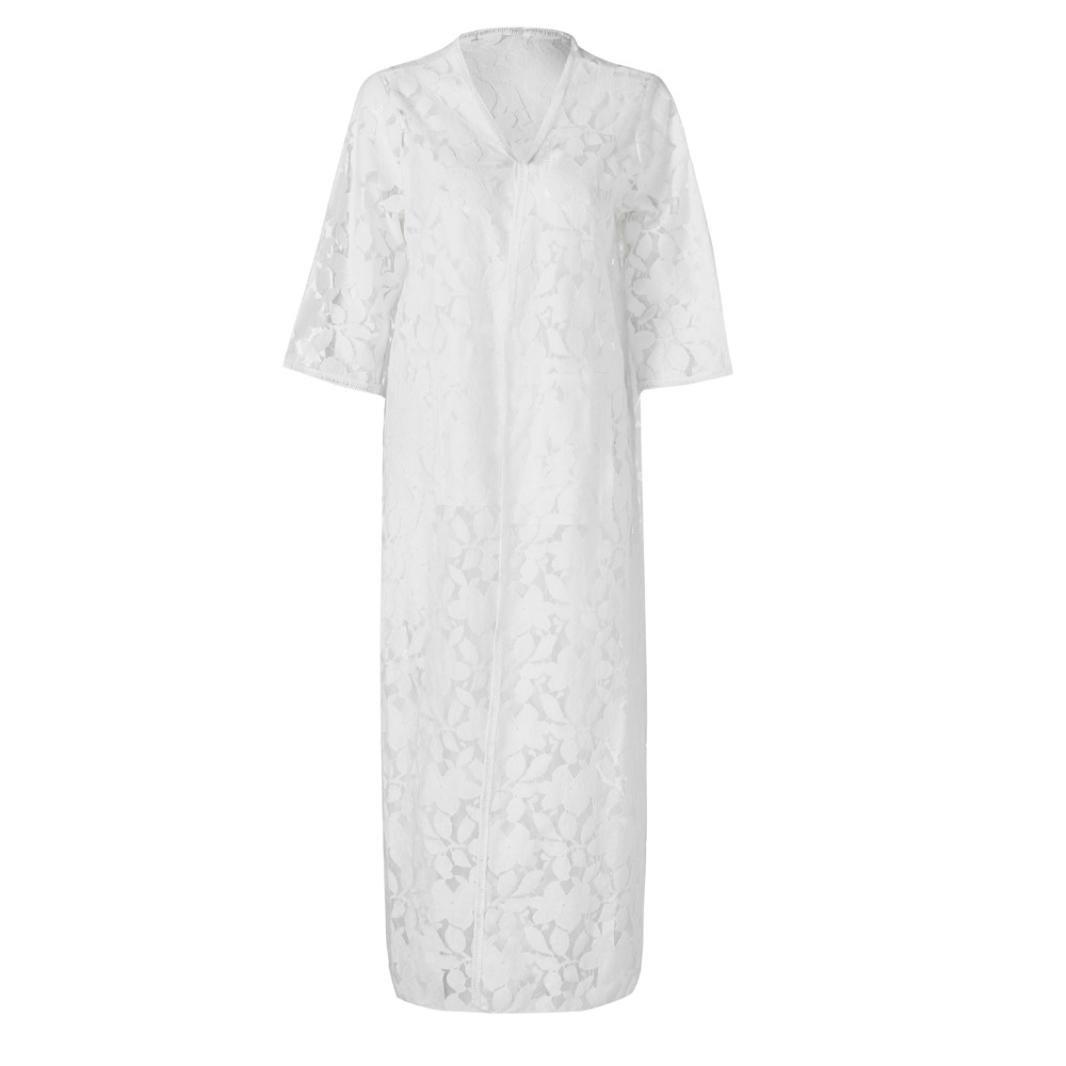 ff0e2a1483 Cache-maillots et sarongs Moonuy Été Loose chemisier De Plage Blanc Long  Cardigan de Plage Pareo Maillot de Bain ...