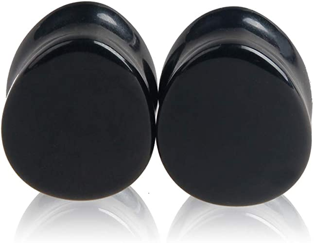Various Sizes 1 x Pair Of Black Acrylic Ear Tunnels With Turquoise Crystal Edge