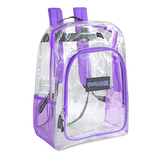 (Deluxe Clear Backpack With Reinforced Straps - Perfect for School, Security, Sporting Events (Purple))