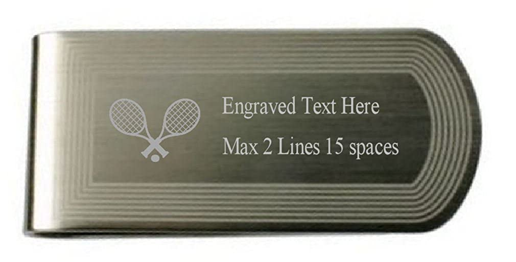 Tennis Sport Money Clip Engraved Own Text in Pouch