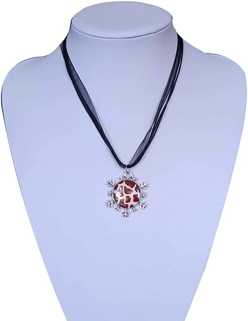 GiftJewelryShop Ancient Style Silver Plate London Eye a Giant Ferris Wheel Snowflake Pendant Necklace